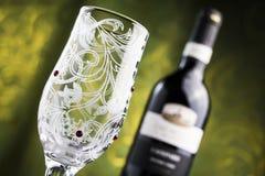 Bicchiere di vino e vino Fotografia Stock Libera da Diritti