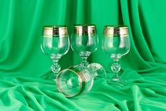Bicchieri di vino alti di vetro della Boemia Fotografia Stock Libera da Diritti