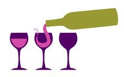 Bicchieri di vino del servizio della bottiglia di vino illustrazione vettoriale