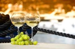 Bicchieri di vino ed uva Immagini Stock Libere da Diritti