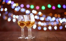Bicchieri di vino in una fila Fotografia Stock Libera da Diritti