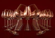 Bicchieri di vino vuoti Fotografie Stock