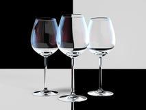 Bicchieri di vino vuoti Fotografia Stock Libera da Diritti