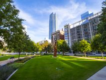 Bicentennial Park in Oklahoma City - downtown district. USA 2017 stock photography