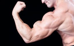 Bicep close up. On black Royalty Free Stock Photos