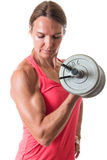 Bicep Curl. Exercise. Studio shot over white royalty free stock photo