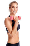 Bicep curls women isolated Stock Images