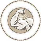 Bicep Flex Label. Seal emblem design with a muscular arm flexing Stock Image