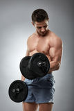 Biceps curl with dumbbell on grey background Stock Images