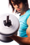 Biceps curl with a dumbbell Royalty Free Stock Images