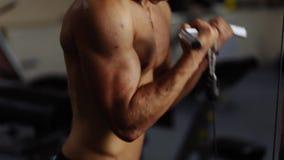 Biceps curls in machine stock footage
