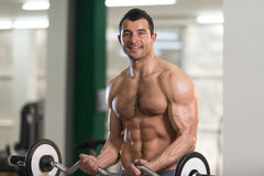 Biceps Exercise With Barbell in a Gym. Handsome Hairy Man Working Out Biceps In A Fitness Center Gym Royalty Free Stock Images