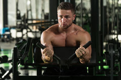 Biceps Exercise In A Gym Royalty Free Stock Photography