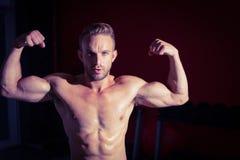 biceps flexing his man muscular Στοκ φωτογραφία με δικαίωμα ελεύθερης χρήσης