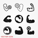 Biceps icon, muscle strength or power vector icon. For exercise apps and websites royalty free illustration