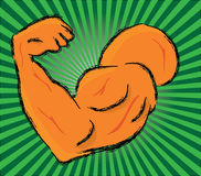 Biceps illustration. Vector illustration of a biceps on a striped backgrounds Stock Photography