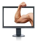 Biceps and monitor Royalty Free Stock Images