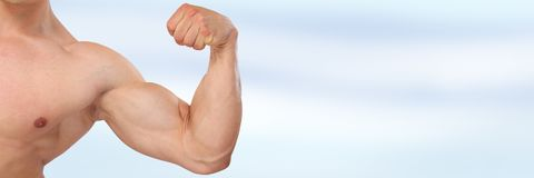 Biceps muscles strength strong power bodybuilder bodybuilding co. Pyspace muscular man copy space Stock Images