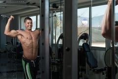 Biceps s'exerçant avec le câble Photographie stock libre de droits