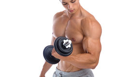 Biceps training bodybuilder bodybuilding muscles power strong mu. Scular young man dumbbell isolated on a white background Royalty Free Stock Image