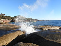 Bicheno Blowhole, Tasmania. Bicheno Blowhole, a hole in the granite rocks that concentrates waves into powerful jets of water on the east coast of Tasmania Stock Photography