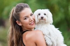 Bichon bolognese dog with beautiful in the park. Bichon bolognese dog with beautiful owner in the park royalty free stock photography
