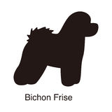 Bichon Frise dog silhouette, side view, vector. Illustration Royalty Free Stock Photos