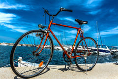 Bici arancione Fotografia Stock Libera da Diritti