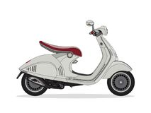 Bici bianca del motore del motorino illustrazione vettoriale