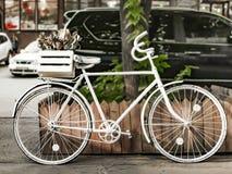 Bici bianca dipinta sulla via della città europea vicino alla strada con le automobili fotografie stock libere da diritti