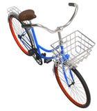 bici blu classica dell'illustrazione 3d con il canestro 1 Immagini Stock Libere da Diritti