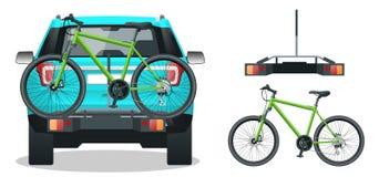 Bici caricate sul retro di SUV Vista posteriore Illustrazione piana di vettore di stile isolata su fondo bianco Fotografie Stock