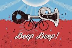 Bici con el claxon Cartel retro del grunge Ilustración del vector Fotos de archivo