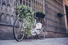 Bici con la cesta de la flor al lado de la pared de la calle Foto de archivo libre de regalías