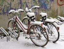 Bici coperte di neve Fotografia Stock