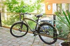 Bici de color caqui del vintage en la salida del sol en el patio Fotos de archivo libres de regalías
