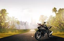 Bici de la moto de la motocicleta que monta a Rider Contemporary Concept Imagen de archivo libre de regalías