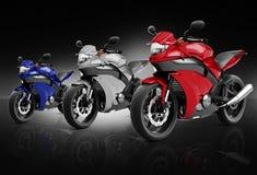 Bici de la moto de la motocicleta que monta a Rider Contemporary Concept Imagen de archivo