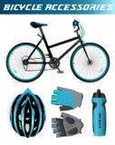 Bici de montaña con los accesorios de la bicicleta casco ilustración del vector