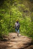 Bici de montaña del paseo del hombre a través del bosque Foto de archivo libre de regalías