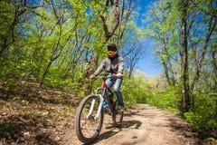 Bici de montaña del paseo del hombre a través del bosque Fotos de archivo libres de regalías