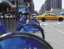 Bici de New York City que comparte la estación Imágenes de archivo libres de regalías