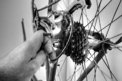 Bici degli ingranaggi che ripara A Immagini Stock