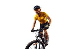 Bici del ciclo del jinete de la bicicleta aislada en blanco Fotografía de archivo libre de regalías