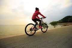 Bici del montar a caballo de Omán en la playa Foto de archivo