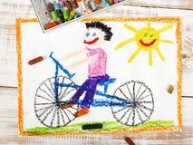 Bici del montar a caballo del muchacho Fotografía de archivo libre de regalías
