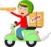 Bici del motor del montar a caballo del muchacho de entrega de la pizza de la historieta Imagen de archivo libre de regalías