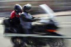 Bici del motor en el movimiento Fotos de archivo libres de regalías