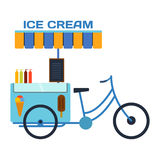 Bici del ristorante di vettore di colore del gelato dell'alimento della via Immagini Stock Libere da Diritti