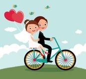 Bici delle persone appena sposate Fotografia Stock